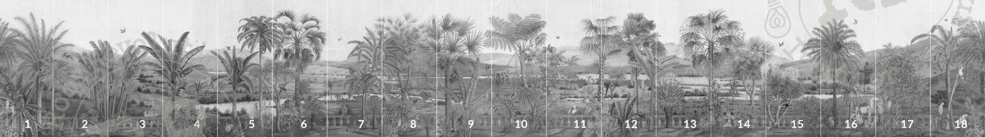 Overzicht van alle panelen van panormamabehang 'D-Dream' in kleur grey van merk IKSEL in small