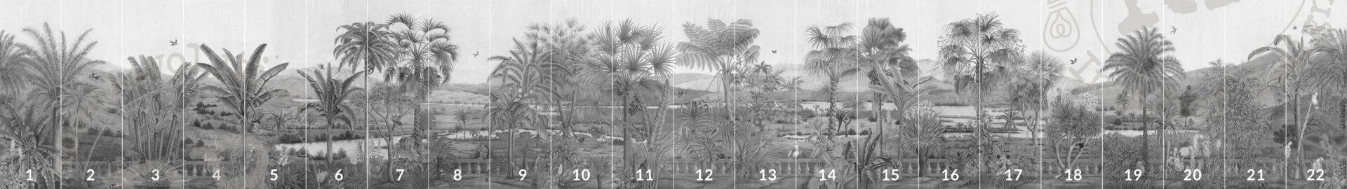 Overzicht van alle panelen van panormamabehang 'D-Dream' in kleur grey van merk IKSEL in large