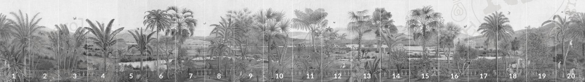 Overzicht van alle panelen van panormamabehang 'D-Dream' in kleur grey van merk IKSEL in medium