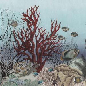 Panoramabehang 'D-Ocean Still Life' in kleur gouache van merk IKSEL