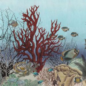 Panoramabehang 'D-Ocean Still Life' in kleur pop van merk IKSEL