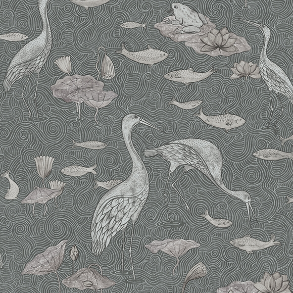 Detail van behang Enchanted River uit de MAGIC GARDEN-collectie van Au Fil des Couleurs