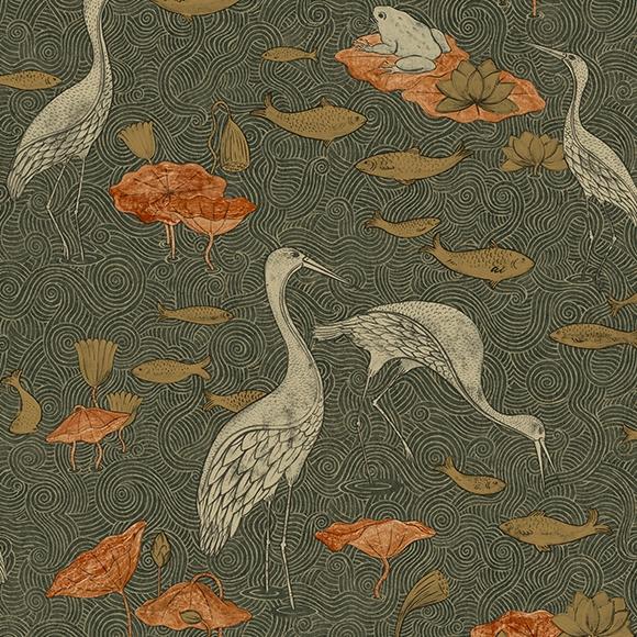 Behang Enchanted River uit de MAGIC GARDEN-collectie van Au Fil des Couleurs