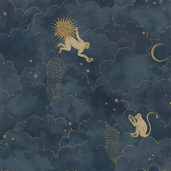 Behang Stars & Monkeys uit de MAGIC GARDEN-collectie van Au Fil des Couleurs
