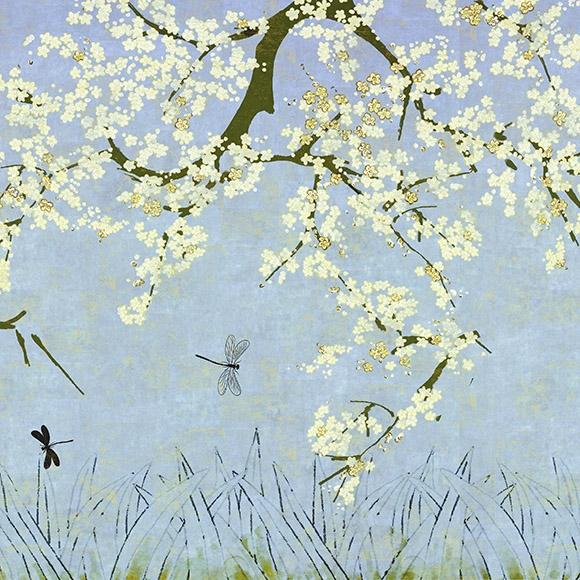 Behang Les Cerisiers Sauvages uit de Soleil Levant-collectie van Élitis