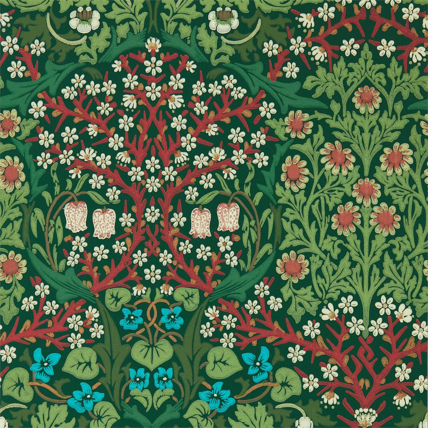 Behang Blackthorn uit de QUEEN SQUARE WALLPAPERS-collectie van Morris & Co.