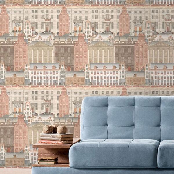 Detail van behang Amsterdam uit de Histoire de l'Architecture-collectie van Mind The Gap
