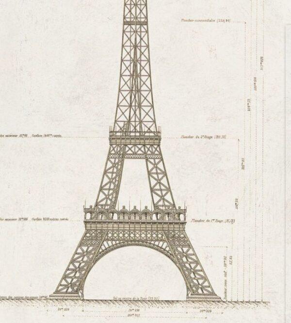 Behang Grand Eiffel uit de Histoire de l'Architecture-collectie van Mind The Gap