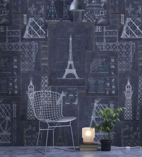 Scene van behang LET OP! - Neem contact met ons op voor het juiste aantal rollen van behang met een patroon en een herhaling (repeat). We helpen u graag! Of bereken het zelf met op onze hulppagina.- De kleuren op uw beeldscherm kunnen afwijken. Bezoek onze winkel om zekerheid te hebben. Of bestel een behangstaal.uit de Histoire de l'Architecture - Grand Eiffel Blue-collectie van Mind The Gap